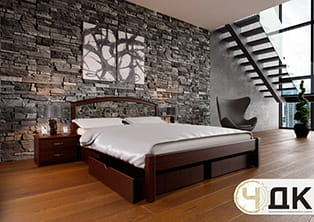 product Британія ліжко дерев'яне кована вставка купити під замовлення Червоноград Острів