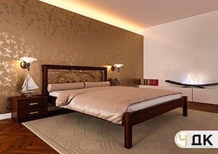 product Молерн ліжко дерев'яне кована вставка купити під замовлення Червоноград Острів